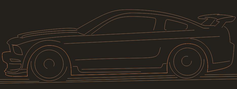 нарисованный ford mustang по шагам